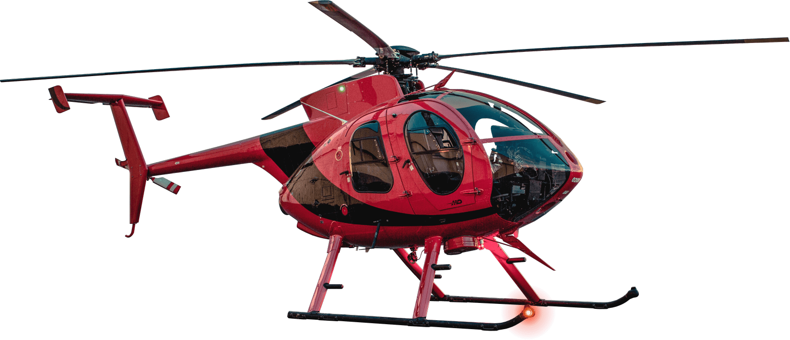Red flying helicopter